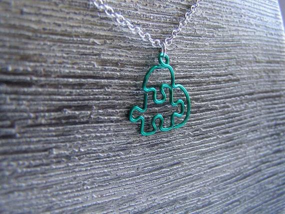 Small Green Puzzle Heart Pendant