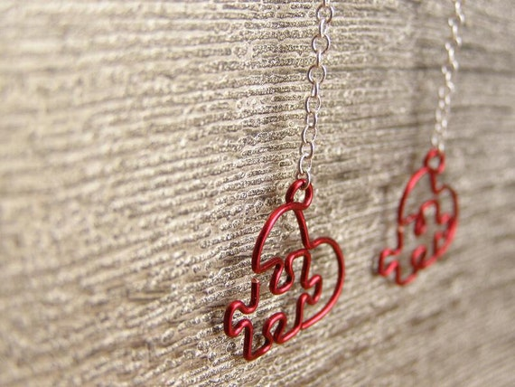 Puzzle Heart Earrings - Made To Order