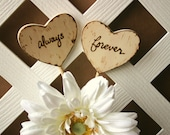 Wood Wedding Cake Toppers Always and Forever in Hearts Rustic Farmhouse Chic Cottage Beach Chic Decorations Anniversary Party