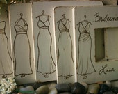 SET of 10 Bridal Party Gift Set - Rustic Chic Personalized Frames with YOUR Dress - Just send a link and we will replicate