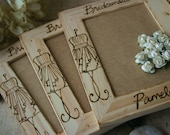 Rustic Wedding Decoration - SET of 3 Bridesmaid Gifts with YOUR Dress Replicated on the Frame - Holds 4x6 Photo - So Rustic Chic