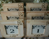 24 Table Number Frames Personalized for Rustic Chic Wedding with your Carved Initials