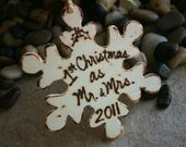 Personalized Rustic Christmas Ornament First Christmas as Mr. and Mrs. Snowflake Rustic Chic Wedding