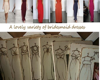 Bridesmaid Gifts Set of 8 Custom Frames - YOUR Bridesmaid and Maid of Honor Dress Engraved on a Wood Frame  Personal for your Wedding Party