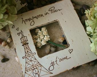 Wedding Gift Honeymoon in Paris Custom Honeymoon frame - Great Bridal Shower Gift