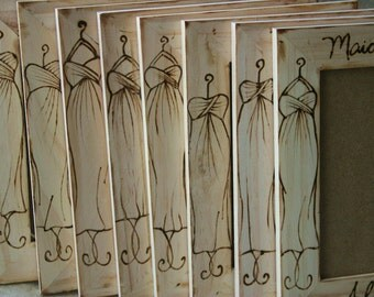Set of 8 Bridal Party Frames Thank you Gifts for Your Bridesmaids and Maid of Honor Match YOUR Dress Perfect Rustic Chic Wedding Gift