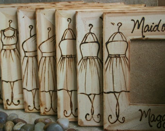 Bridesmaid Gifts Set of 12 YOUR Dress Engraved on a Wood Frame Groomsman Rustic Wedding Favors for your Bridal Party