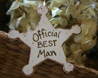 Rustic Wedding Best Man Gift - Official Best Man Badge of Honor for Rustic Chic Wedding