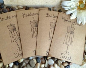 Set of 14 Bridal Party Thank You Cards Rustic Aged Wedding Cards Thank You For Being my Bridesmaid Personalized with YOUR Dress