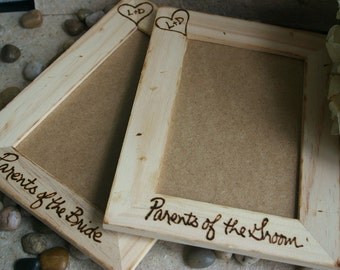 Set of 3 Personalized frames for Parents of the Bride and Groom Carved Initials in Heart Rustic Wedding