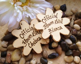 Set of 2 Flower Girl Badges Personalized Pins Rustic Wedding Decorations