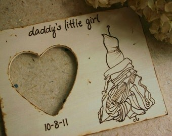 Father of the Bride Gift YOUR Wedding Gown Engraved on a Wood Frame Daddy's Little Girl with Wedding Date Custom Frame