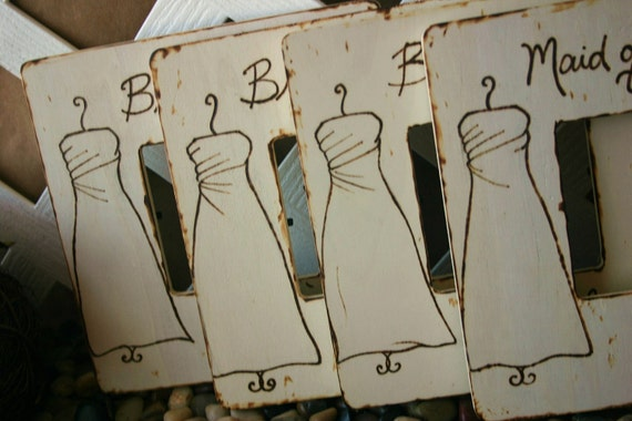 Bridesmaid Favors Maid of Honor Gift Set of 6 YOUR Dress Customized Picture Frame Rustic Chic Wedding Present for Being in your Bridal Party