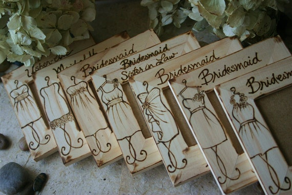 SET of 9 Bridal Party Gift Set Rustic Chic Frames with YOUR Dress Style Engraved in Wood - Personalized and Custom