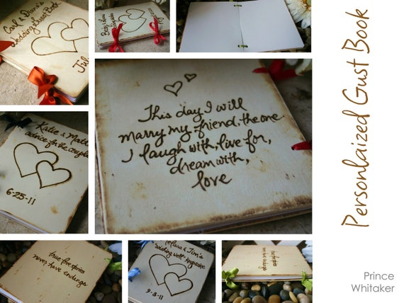 Personalized Wedding Guest Book Rustic Chic Keepsake Handmade Your Names Date Perfect Sign In Journal Woodland Cottage Romance