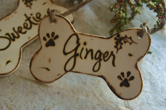 Holiday Pet Ornament Dog Bone Personalized Christmas Custom Wood with Name and Year