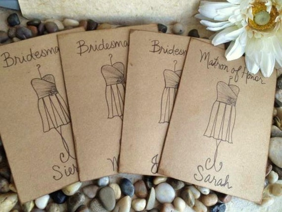 Bridesmaids Gifts Thank You Cards Personalized Cards with YOUR Bridesmaid DRESS - so Unique - SET of 4 Rustic Style Wedding Cards