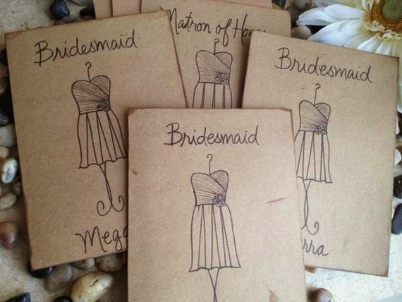 Set of 8 Thank you for Being my Bridesmaid Card for Maid of Honor Flower Girl Rustic Chic Wedding Vintage Distressed Card