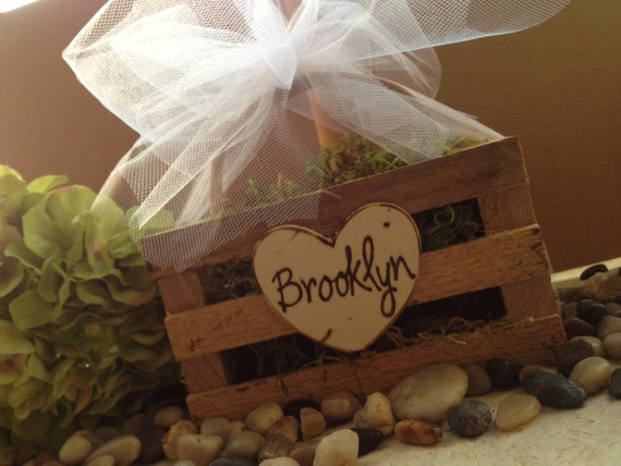 Rustic Flower Girl Basket Personalized with Engraved Name or Initials and Beautiful Tulle Rustic Woodland Wedding