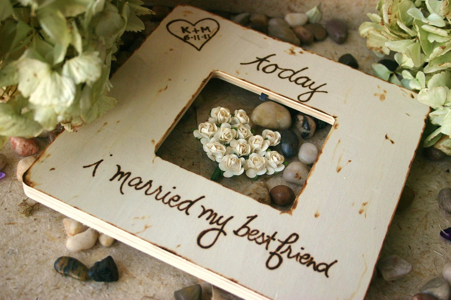 Wedding Gift Frame: Custom Wedding Frame Gift Rustic Chic Today I By