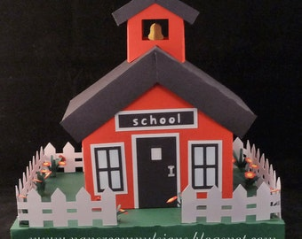 School house box SVG cut file and PDF templates