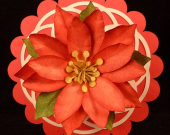 Poinsettias and Round Box SVG Cut Files and PDF Template