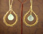 Bohemian Sea Foam Aqua Chalcedony Earrings Silver Pearls Bohemian Elegant Collection