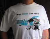 "Men's Classic Car Tshirt 1957 Chevy - ""Boys Under The Hood"" Almost Vintage - Unique Tees by Artist Marcie Forest"
