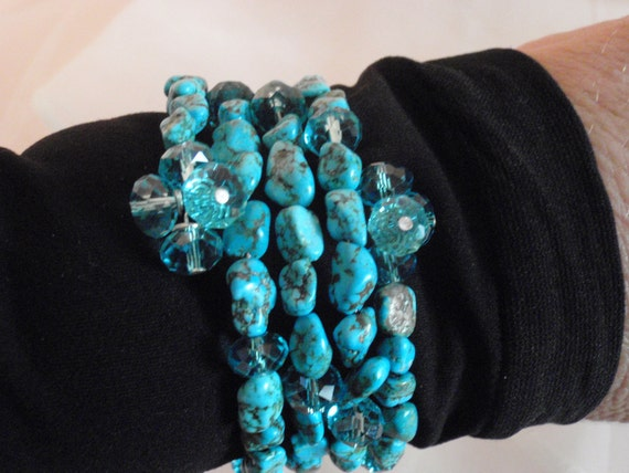 Turquoise rock beads with Turquoise Crystals Cuff Bracelet with Bead Bauble Wire Wrapped Ends...