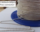 Discount-1000 feet 1.5mm Silver ball chain spool with 300 FREE connectors