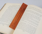 Leather pen, sword bookmark, hand carved