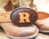 BENEFITS CHARITY Custom brown and tan letter hand carved leather belt buckle benefits Cri du Chat charity, brown and tan - GettingWeddy