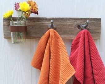 TRIO mason jar and hook coat rack, vase, organizer for your kitchen, bathroom, entry