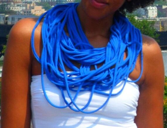 Blue Necklace InfinityScarf  Men Women Multi Strand