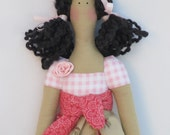 Pretty fabric doll in lovely rose dress, rag doll, brunette, stuffed doll,child friendly cloth doll Tilda style- gift idea for girls and mom
