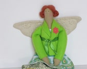 Summer fairy doll,angel doll in green and yellow-cloth doll- stuffed doll - Lovely fabric doll Tilda style- Gift for girls,birthday gift