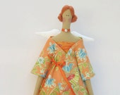 Fabric doll pretty Angel doll- cloth doll with a blue bird, art doll in orange multicolor bird print pantsuit, Autumn Angel - gift for girls
