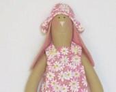 Cute handmade bunny girl doll,rabbit toy,hare Tilda style - bunny rabbit in pink flower dress,Summer bunny -gift idea for girls