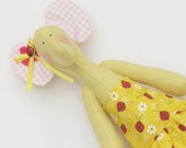 Custom order for Jenie- Lovely baby girl elephant in yellow ladybug dress - handmade fabric toy,plush toy,softie doll