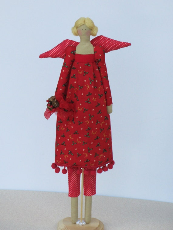 Christmas angel fabric doll in Tilda style in lovely red holidays dress- gift and decor for Christmas holydays
