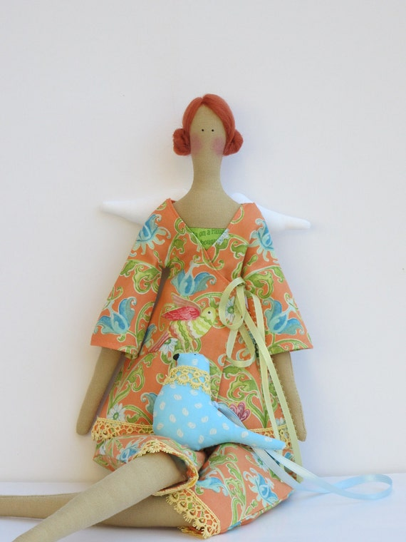 Pretty angel fabric doll,cloth doll with a blue bird, in golden,orange multicolor bird print pantsuit, Summer angel - gift for girls