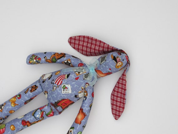 Spring bunny, rabbit, hare,handmade lovely fabric doll,stuffed animal - blue and red. Gift idea for children