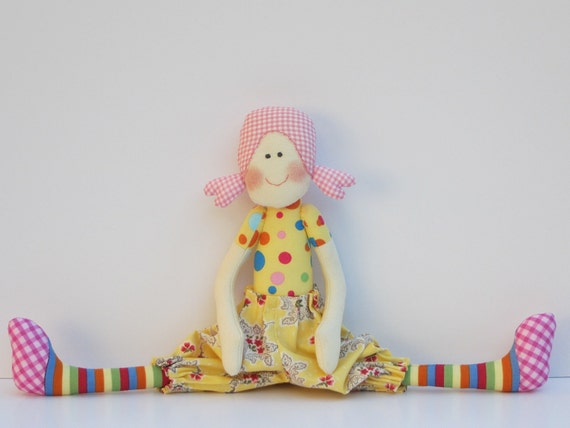 Cloth doll,softie,stuffed doll, textile doll for little girls. Handmade child friendly fabric doll  yellow,polka dot plushie.Gift for girls.