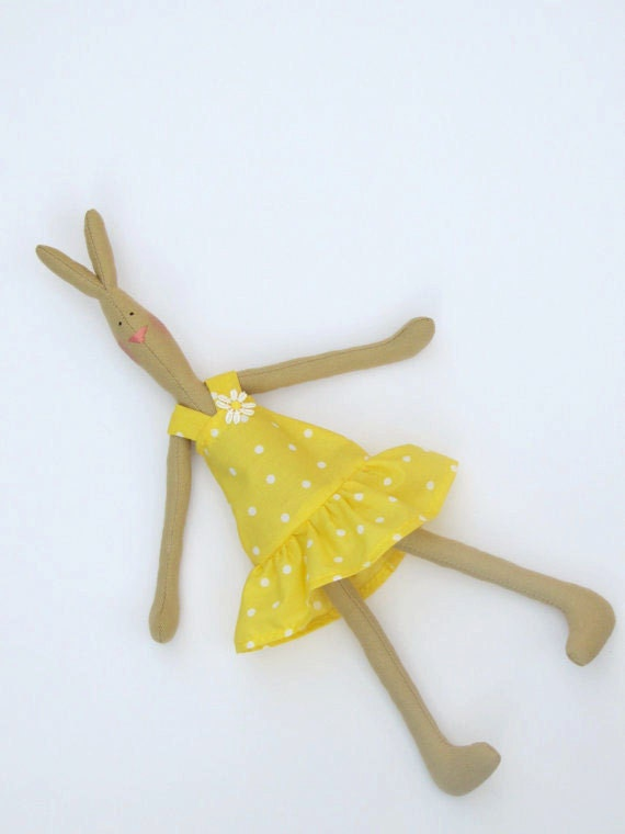Resereved for A. - Bunny plush rabbit toy- softie hare,bunny prima ballerina doll in yellow polka dot - gift for girl