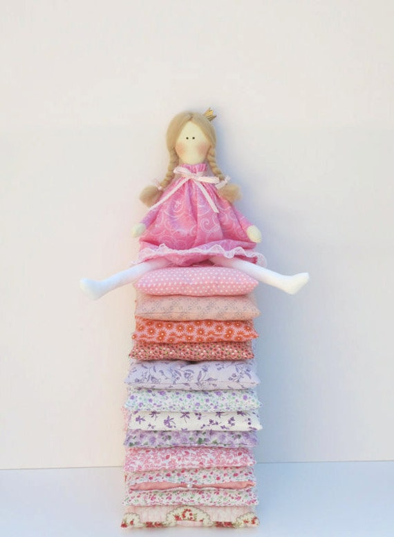 Cute cloth doll -fabric doll play set - Princess and the Pea in pink dress,blonde with twelve mattresses,bunny and kitten - gift for girl