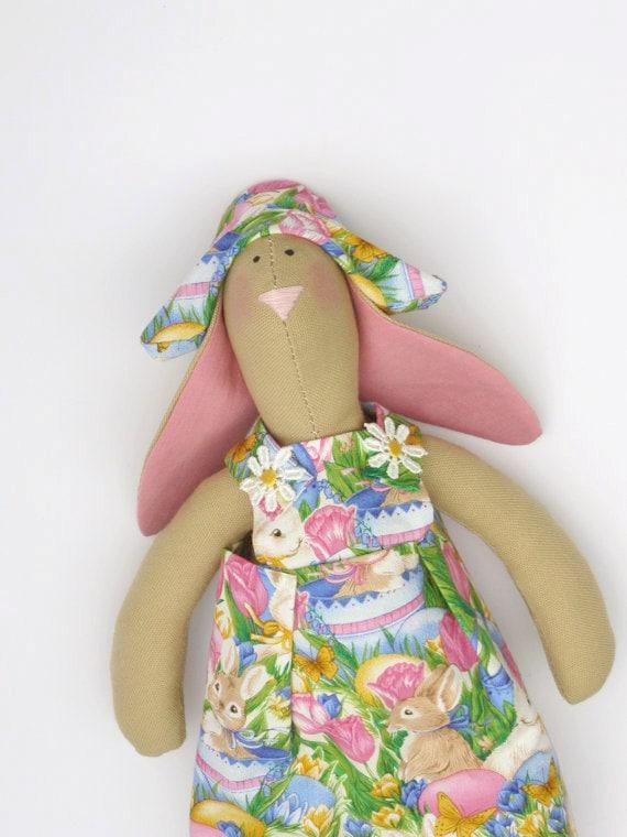 Cute handmade bunny girl doll,rabbit toy,hare Tilda style - bunny rabbit in pink dress,Summer stuffed bunny -gift idea for girls