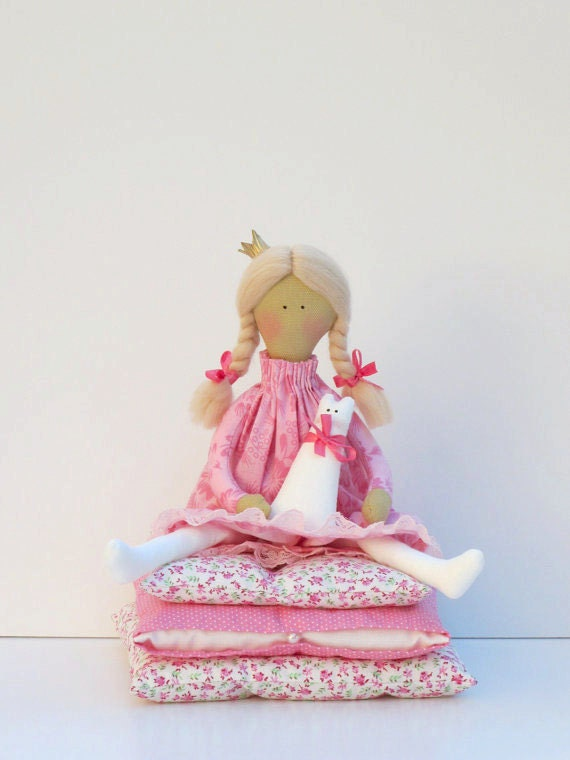 Princess and the Pea -lovely fairy tale fabric doll,blonde in pink dress with a kitty Handmade cloth doll,stuffed doll- gift for girl