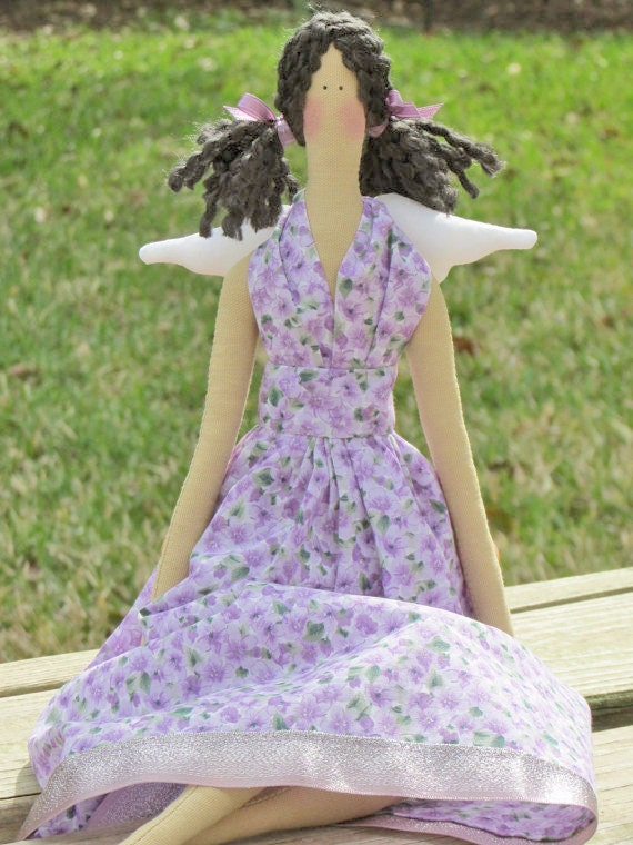 Handmade fabric doll Sweet angel in lilac ,child friendly doll- Cloth doll,stuffed art doll brunette.Gift for girl and mom,birthday gift