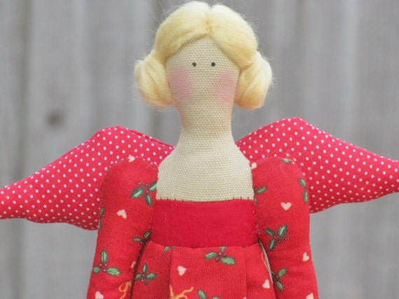 Christmas angel fabric doll Tilda style in lovely red holiday dress,cloth doll,fabric doll art doll- gift and decor for Christmas holidays