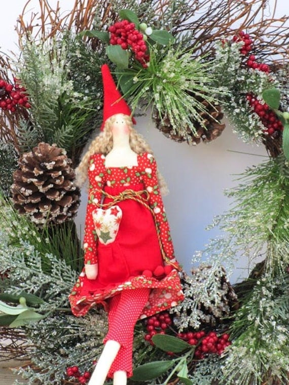 Christmas elf girl - fabric doll in red dress  art doll, stuffed doll child friendly doll softie - Christmas gift and decor